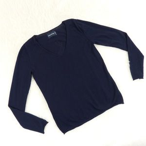 Zadig & Voltaire V Neck Navy Feather Sweater